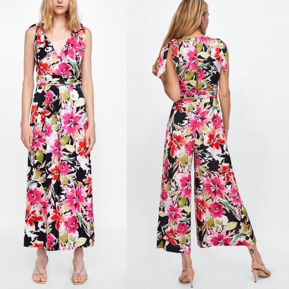 601aeb597d8 NWT Zara Satin Asian Floral print bow Jumpsuit